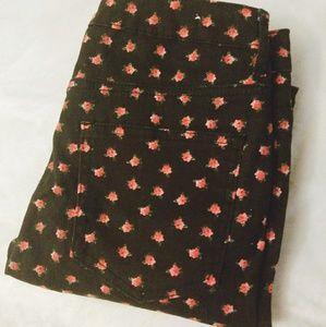 Forever 21 Rose Patterned Black Denim Jeans